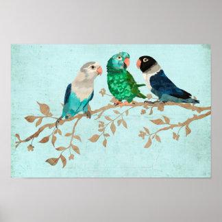 THREE BIRDS ON A BRANCH Art Poster