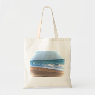 three birds on shore photo florida beach tote bag