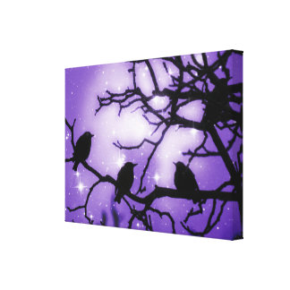 Three Birds, Sparkling Amethyst Sky Canvas Print