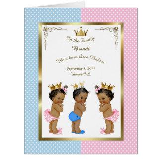 Three birth GIRLS & BOY announcement card, photo