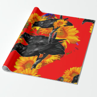 THREE BLACK BIRDS IN SUNFLOWER FIELDS WRAPPING PAPER