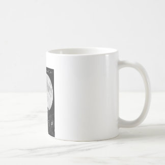 Three black cats and the moon. coffee mug