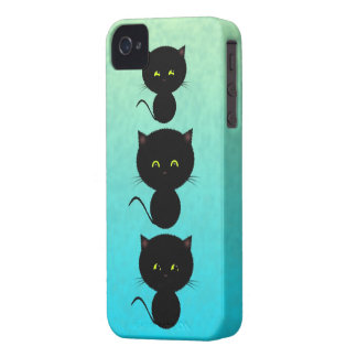 Three Black Cats on Turquoise iPhone 4 Case