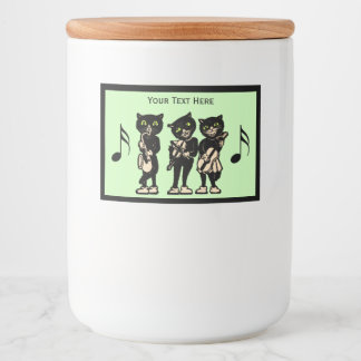 Three Black Cats Playing Musical Instruments Food Label