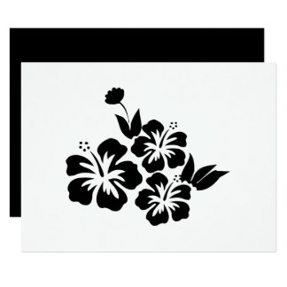 Three Black Hibiscus Tropical Flowers Card
