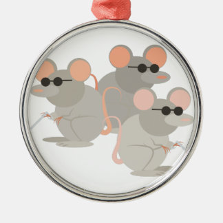 Three Blind Mice Silver-Colored Round Decoration