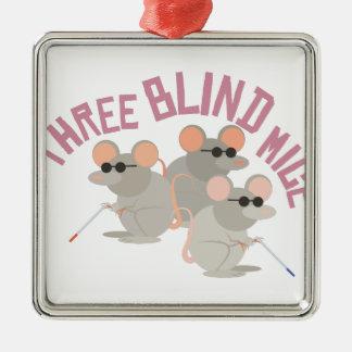 Three Blind Mice Silver-Colored Square Decoration