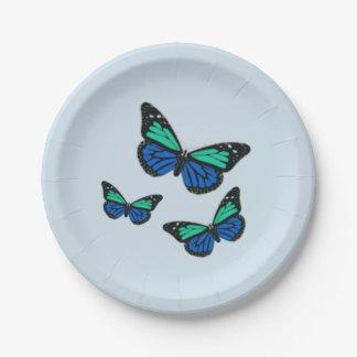 Three Blue Butterflies Paper Plate