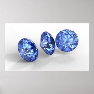 Three blue diamonds poster