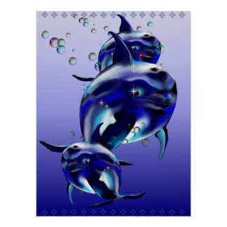 Three Blue Dolphins Poster