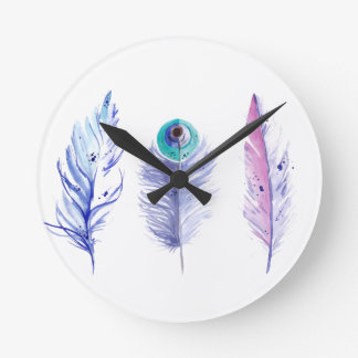 Three blue feathers wall clock