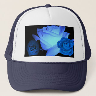 Three Blue Roses show on Blue Trucker Hat