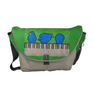 three bluebirds on piano bag commuter bags