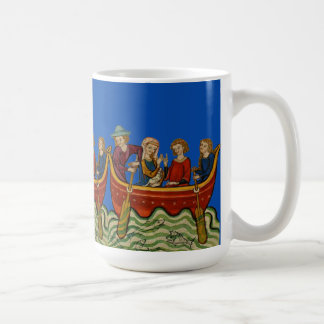 Three boats on the river Blue Coffee Mug