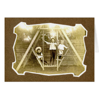 Three Boys On Swing Vintage Notecard