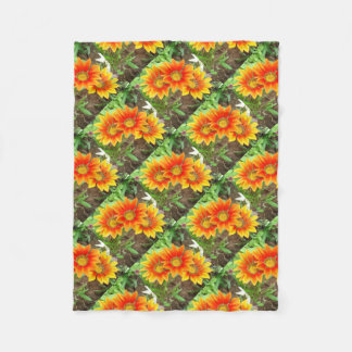 Three Bright Colored Gazania Flowers and Garden Fleece Blanket