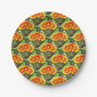 Three Bright Colored Gazania Flowers and Garden Paper Plate