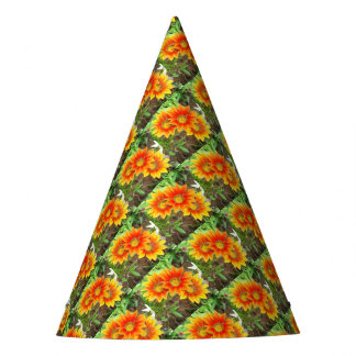 Three Bright Colored Gazania Flowers and Garden Party Hat
