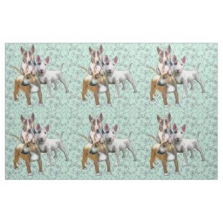 Three Bull Terriers Fabric