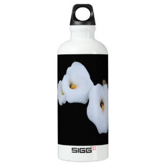 Three Calla Lilies Isolated On A Black Background Water Bottle
