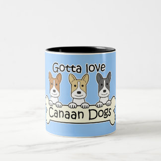 Three Canaan Dogs Two-Tone Coffee Mug