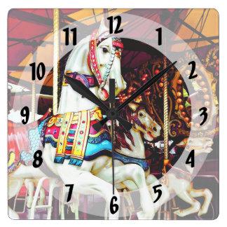 Three Carousel Horses Square Wall Clock