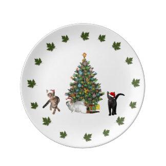 Three Cat Santas Plate