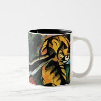 Three Cats by Franz Marc Two-Tone Coffee Mug