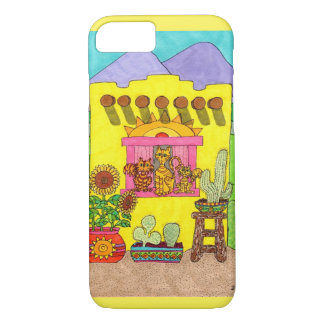 Three Cats in a Yellow Adobe House iPhone 7 Case