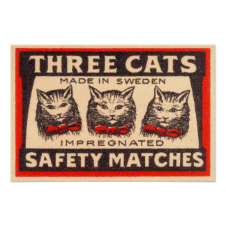 Three Cats Safety Matches Label Poster
