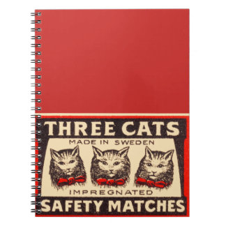 Three Cats Vintage Label Art Spiral Notebook