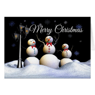 Three Cheery Snow Figures In A Winter Wonderland Card