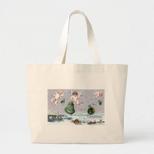 Three Cherubs and Green Bells Canvas Bags
