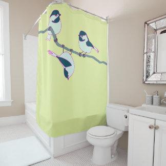 Three chickadees shower curtain