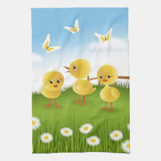 Three Chickens Tea Towel