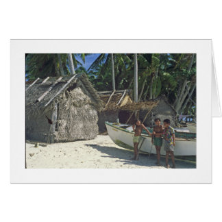 Three Children on the Beach at PUKAPUKA Card