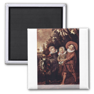 Three Children With Goat And Wagon By Hals Frans Magnet