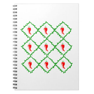 Three chili peppers white diamonds graphic notebooks