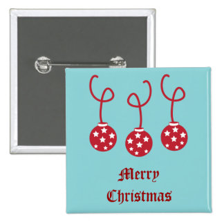 Three Christmas Baubles with stars 15 Cm Square Badge