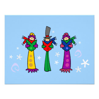 Three Christmas Carolers Custom Announcements