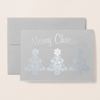 Three Christmas Tree Outlines Foil Card
