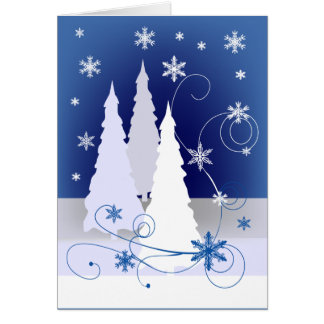 Three Christmas Trees in Blue Greeting Card