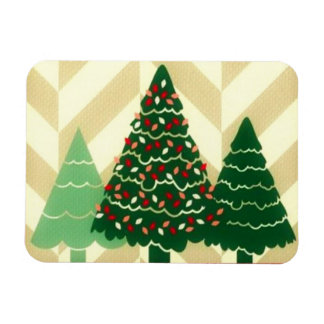 Three Christmas Trees Rectangular Photo Magnet