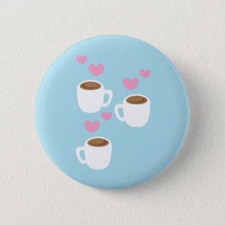three coffees 6 cm round badge