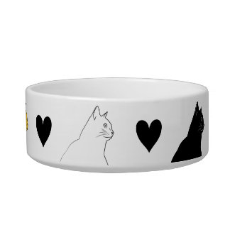 Three color cats with black hearts bowl
