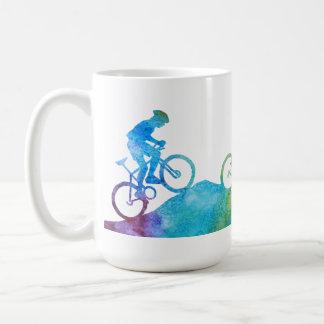 Three Color-Washed Mountain Bikers Basic White Mug