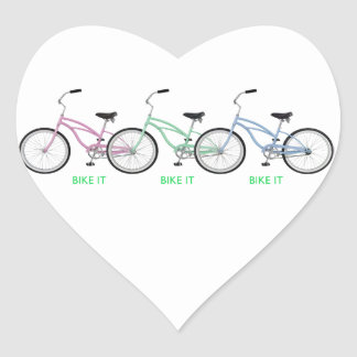 Three colorful bicycles with the words Bike it! Heart Sticker