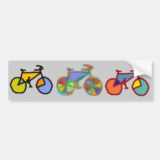 three colorful bikes bumper sticker
