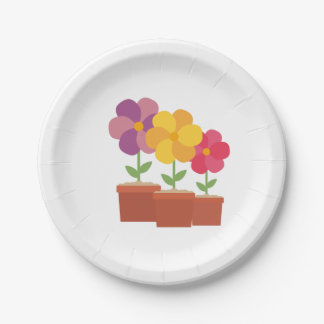 Three colorful Flowers Zo728 Paper Plate