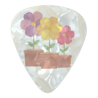 Three colorful Flowers Zo728 Pearl Celluloid Guitar Pick